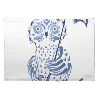 Búho ornamental azul salvamanteles