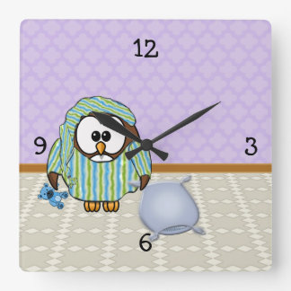 ¡búho perezoso - no hago lunes! reloj cuadrado