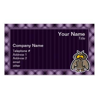 Búho púrpura tarjetas de visita