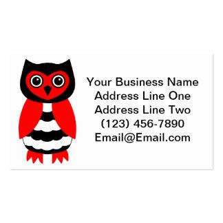 Búho rojo y negro tarjetas de visita