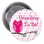 "Búho rosado ""abuela a ser"" botón de la fiesta de b pin"