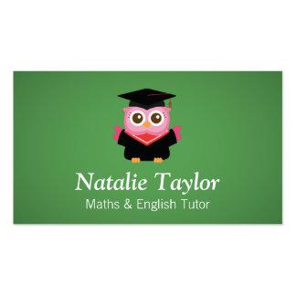 Búho rosado de la graduación profesor particular tarjeta de negocio