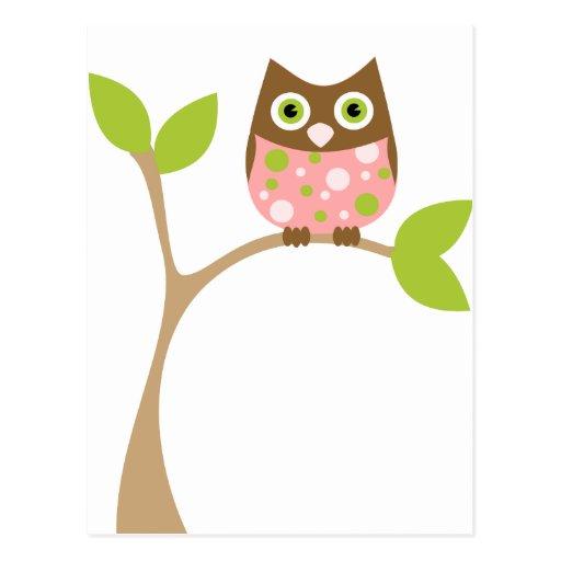 Búho rosado del bebé tarjeta postal