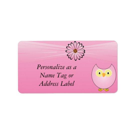 Búho rosado dulce etiqueta de dirección