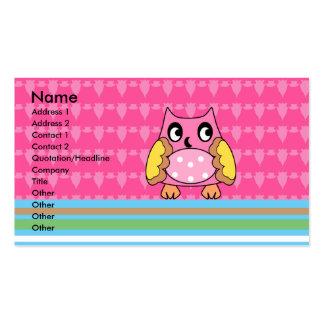 Búho rosado en rayas tarjetas de visita