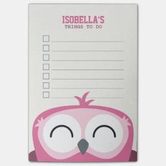 Búho rosado feliz del Peekaboo lindo para hacer la Notas Post-it®
