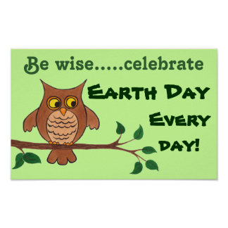 Búho sabio - Día de la Tierra - poster adaptable Póster