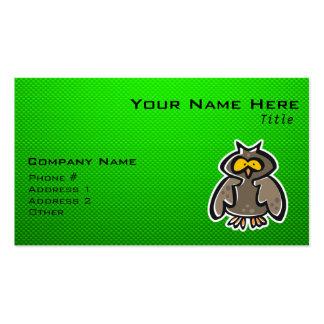 Búho verde tarjetas de visita