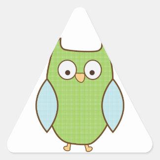 búho verde y azul texturizado pegatina triangular