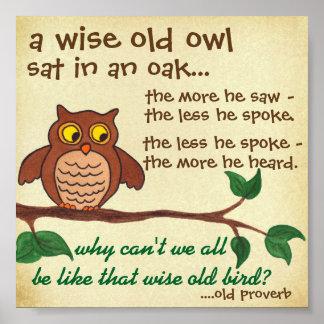 Búho viejo sabio - proverbio - mini poster póster