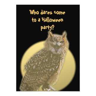 Búho y Luna Llena - fiesta de Halloween Invitación 13,9 X 19,0 Cm