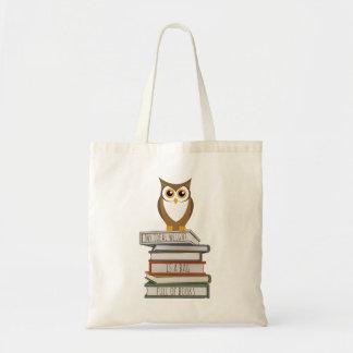 Búho y pila de libros bolso de tela