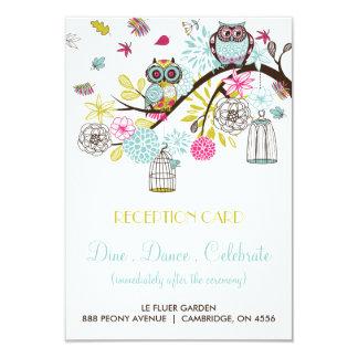 Búhos coloridos y tarjeta de la recepción de las invitación 8,9 x 12,7 cm