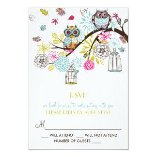 Búhos coloridos y tarjeta de RSVP de las hojas que Invitación 8,9 X 12,7 Cm