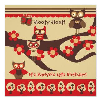 Búhos de encargo en invitaciones de un cumpleaños invitación 13,3 cm x 13,3cm