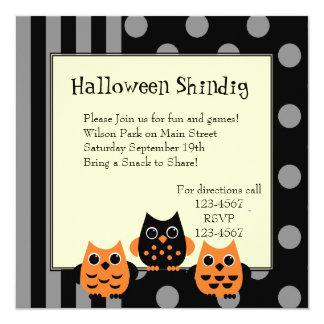 Búhos de Halloween Invitación 13,3 Cm X 13,3cm