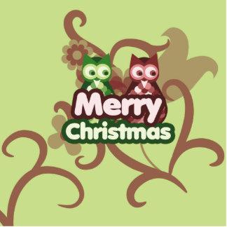 Búhos de las Felices Navidad Escultura Fotografica