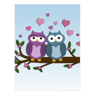 Búhos de las tarjetas del día de San Valentín Postal