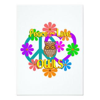 Búhos del amor de la paz invitación 13,9 x 19,0 cm