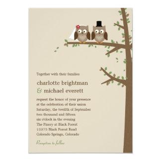 Búhos del amor que casan la invitación invitación 12,7 x 17,8 cm