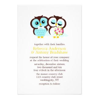Búhos del boda comunicado personal