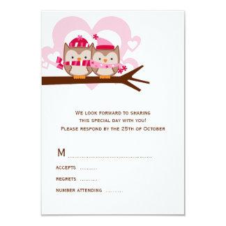 Búhos del invierno que casan las tarjetas de RSVP Invitación 8,9 X 12,7 Cm
