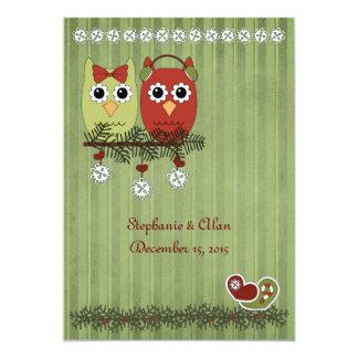 Búhos del navidad que casan invitaciones invitación 12,7 x 17,8 cm