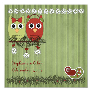 Búhos del navidad que casan invitaciones invitación 13,3 cm x 13,3cm