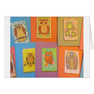 búhos del vintage de los años 70 tarjeta de felicitación