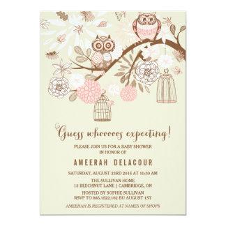 Búhos e invitación rosados de la fiesta de invitación 12,7 x 17,8 cm