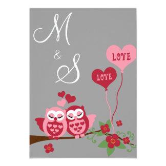 Búhos en el boda del amor invitación 12,7 x 17,8 cm
