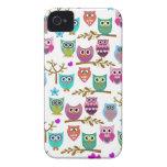 búhos felices iPhone 4 Case-Mate cobertura
