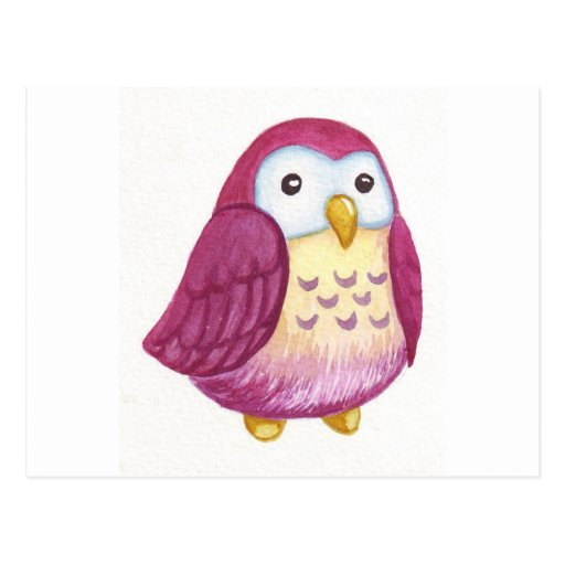 Búhos lindos pintados tarjeta postal de Zazzle.