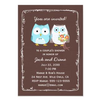 Búhos que casan la ducha para la novia y el novio invitación 12,7 x 17,8 cm