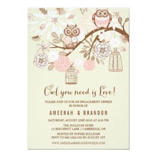 Búhos y invitación rosados del fiesta de