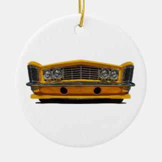 Buick amarillo adorno navideño redondo de cerámica
