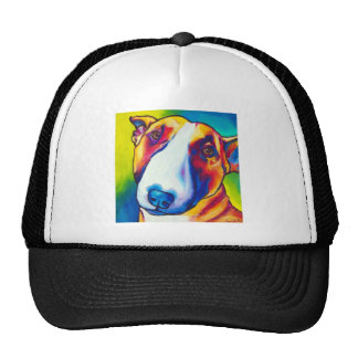 bull terrier rojo y blanco 2 gorros