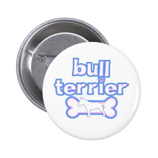Bull terrier rosado y azul chapa redonda de 5 cm