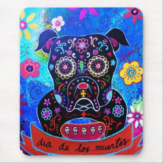 Bulldog Dia de los Muertos Painting Alfombrillas De Ratones