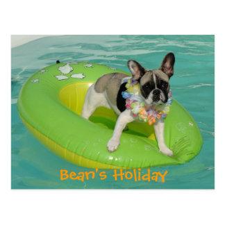"Bulldog francés tarjeta postal ""Bean ` s Holiday"