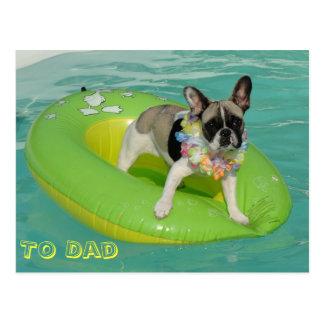 "Bulldog francés tarjeta postal ""To Dad"