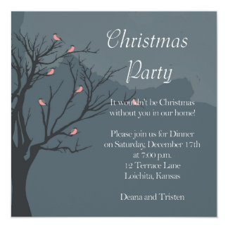Bullfinches en un fiesta del árbol-Navidad Invitación 13,3 Cm X 13,3cm