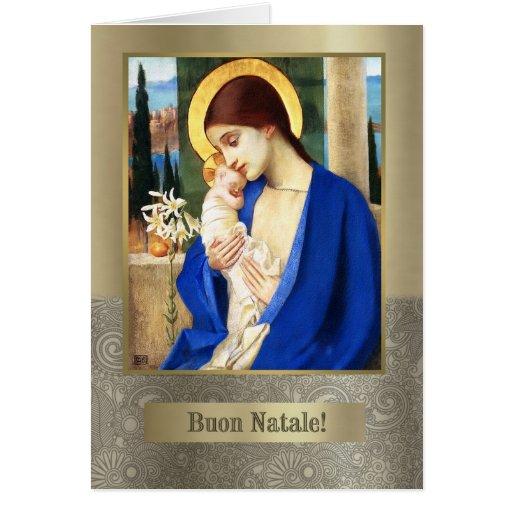 Buon Natale. Tarjeta de Navidad italiana de la bel