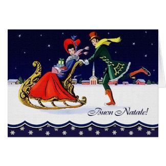 Buon Natale. Tarjeta de Navidad italiana del estil