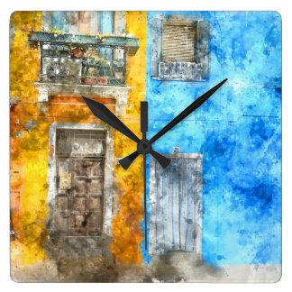 Burano Italia cerca de Venecia Italia Reloj Cuadrado