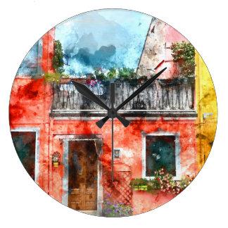 Burano romántico Italia cerca de Venecia Italia Reloj Redondo Grande