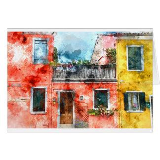 Burano romántico Italia cerca de Venecia Italia Tarjeta