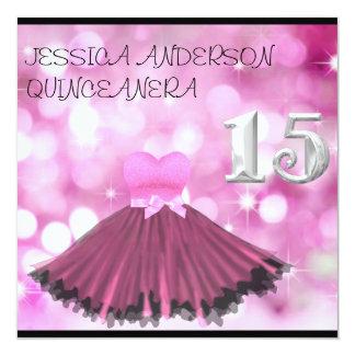 Burbuja rosada negra de plata del vestido de invitación 13,3 cm x 13,3cm