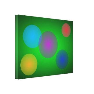 Burbujas coloridas en verde oscuro impresion de lienzo