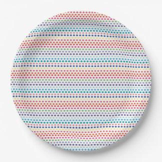 Burbujas del arco iris plato de papel